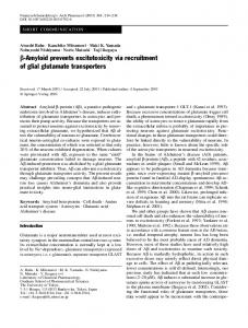 β-Amyloid prevents excitotoxicity via recruitment of glial glutamate ...