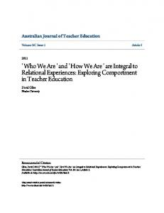 ' How We Are ' are Integral to Relational Experiences: Exploring ... - Eric