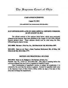 08/19/2013 Case Announcements - Supreme Court
