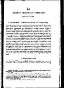 1 2 Causation: Metaphysics or Intuition? Richard W. Wright* I ...