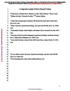 1 A Comparative Analysis of Marine Mammal Tracheas 1 2 Colby ...