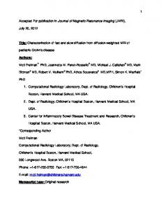 1 Accepted For publication in Journal of Magnetic Resonance Imaging
