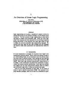 1 An Overview of Linear Logic Programming - LIX - Ecole polytechnique