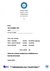 1 BBELS IELTS PRE-PLACEMENT TEST Total Pages: 9 including ...