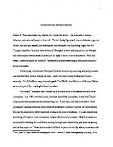 1 Dan Grubb Thesis Introduction and Literature Review Hunter S ...