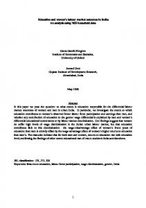 1 Education and women's labour market outcomes in India: An ...