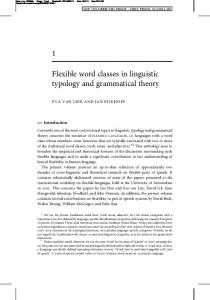 1 Flexible word classes in linguistic typology and grammatical theory