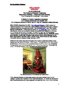 1 For Immediate Release: Ho-Ho-Hollywood! The Hollywood ...