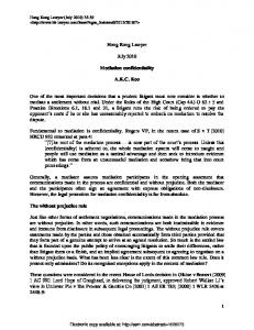 1 Hong Kong Lawyer July 2010 Mediation ... - SSRN papers