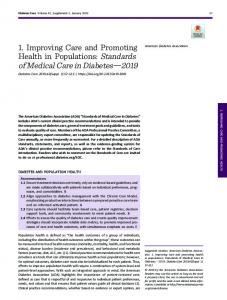 1. Improving Care and Promoting Health in ... - Diabetes Care