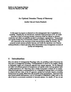 1 Introduction - Rutgers Optimality Archive - Rutgers University