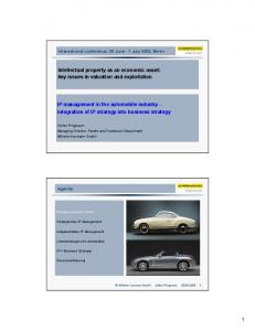 1 IP management in the automobile industry - integration of ... - OECD