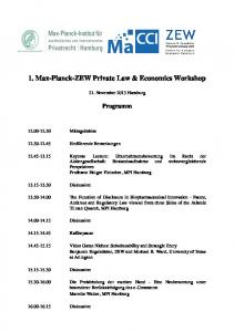 1. Max-Planck-ZEW Private Law & Economics Workshop