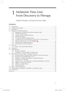 1 Melatonin Time Line: From Discovery to Therapy