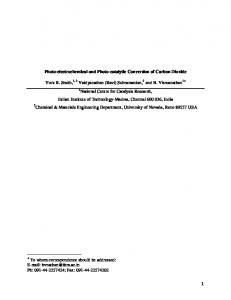 1 Photo-electrochemical and Photo-catalytic ...