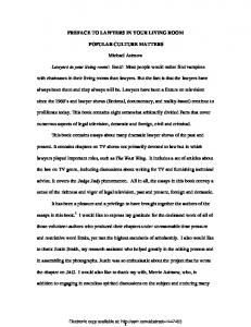 1 PREFACE TO LAWYERS IN YOUR LIVING ROOM ... - SSRN