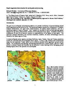 1 Rapid magnitude determination for earthquake early ... - Richard Allen
