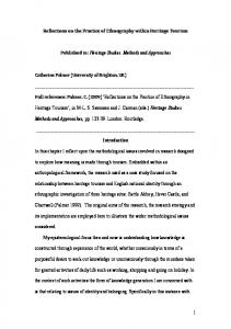 1 Reflections on the Practice of Ethnography within Heritage ... - Core
