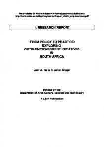 1. research report from policy to practice: exploring ...