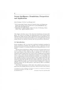 1 Swarm Intelligence: Foundations, Perspectives and ... - Ajith Abraham