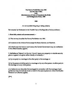 1 The Dowry Prohibition Act, 1961 (Act No. 28 of 1961) with ...