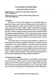 1 Tourism Management and Planning in Bulgaria ... - SSRN papers