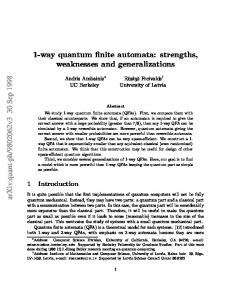 1-way quantum finite automata: strengths, weaknesses and ...