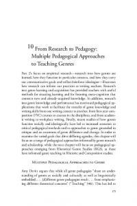 10. From Research to Pedagogy: Multiple Pedagogical Approaches ...
