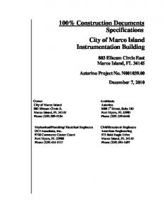 100% Construction Documents Specifications City ... - DN Higgins, Inc.