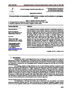 1045 Characterization of nanoparticles stabilized