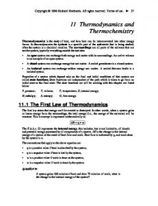 11 Thermodynamics and Thermochemistry