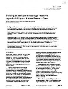 113 Building capacity to encourage research