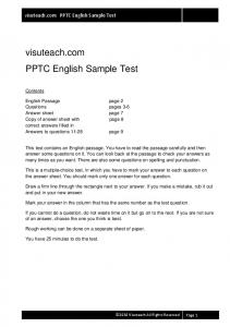 11plusexams.com PPTC English Sample Test