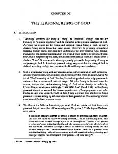 12 The Personal Being of God - Bunyan Ministries