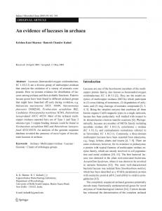 123 An evidence of laccases in archaea - Springer Link