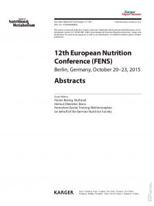 12th European Nutrition Conference (FENS) Abstracts