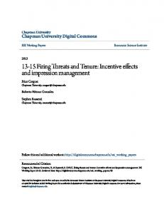 13-15 Firing Threats and Tenure - Chapman University Digital Commons