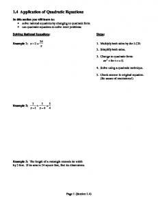 1.4 Application of Quadratic Equations