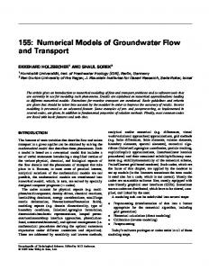 155: Numerical Models of Groundwater Flow and Transport