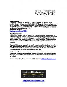 1589Kb - Warwick WRAP - University of Warwick