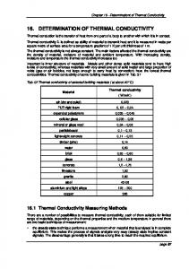 16. DETERMINATION OF THERMAL CONDUCTIVITY