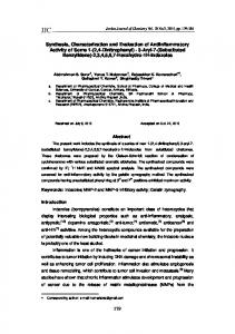 179 Synthesis, Characterization and Evaluation of Antiinflammatory ...