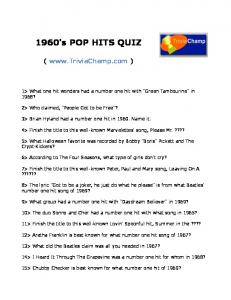 1960's POP HITS QUIZ - Trivia Champ