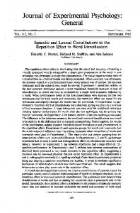 (1983). Episodic and lexical contributions to the repetition effect