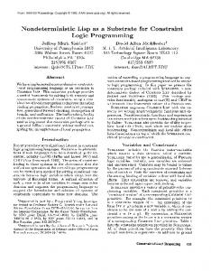 1993-Nondeterministic Lisp as a Substrate for ... - Semantic Scholar