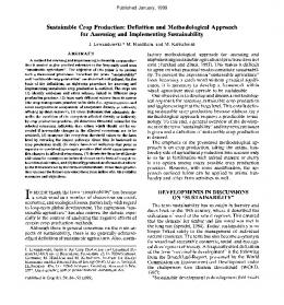 (1999) Sustainable Crop Production: Definition and Methodological ...
