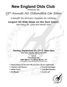 19th Annual All Oldsmobile Car Show