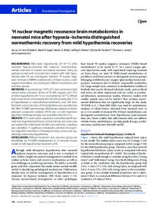 1H nuclear magnetic resonance brain metabolomics ... - BioMedSearch