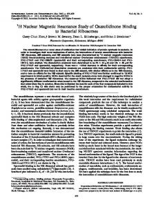 1H Nuclear Magnetic Resonance Study of Oxazolidinone Binding to ...