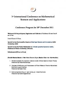 1st International Conference on Mathematical Sciences and Applications